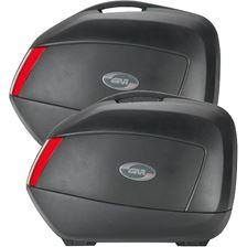 GIVI V35 zijkoffers rode reflectoren, zwarte cover
