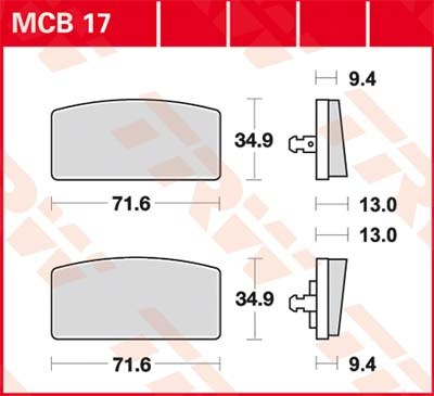 TRW Standaard remblokken MCB17