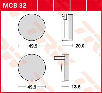 TRW Standaard remblokken MCB32