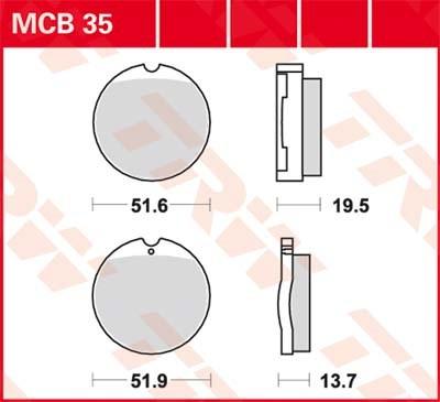 TRW Standaard remblokken MCB35