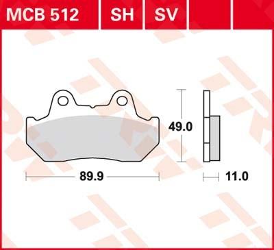TRW Standaard remblokken MCB512