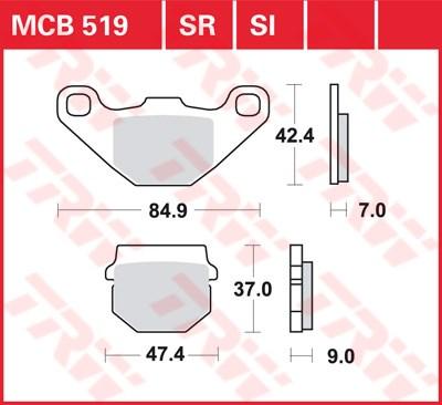 TRW Sinter metaal remblokken MCB519SR