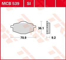 TRW Plaquettes de frein métal fritté SI MCB539SI