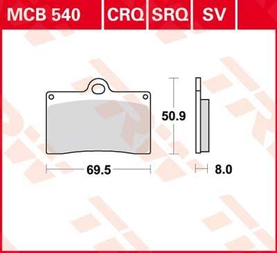 TRW Standaard remblokken MCB540