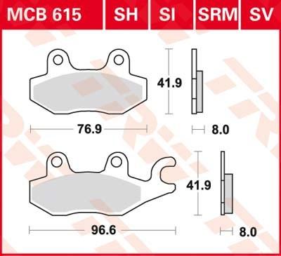 TRW Standaard remblokken MCB615