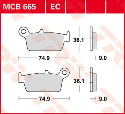 TRW Standaard remblokken MCB665