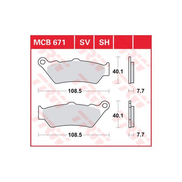 TRW Plaquettes de frein SV/SH MCB671SV