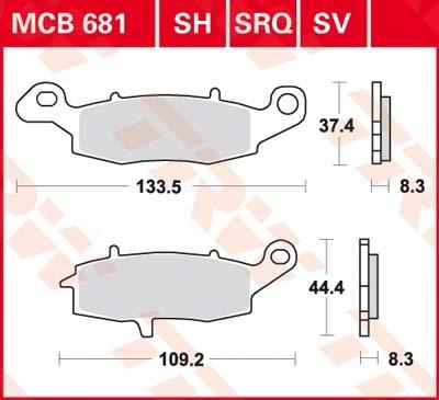 TRW Standaard remblokken MCB681