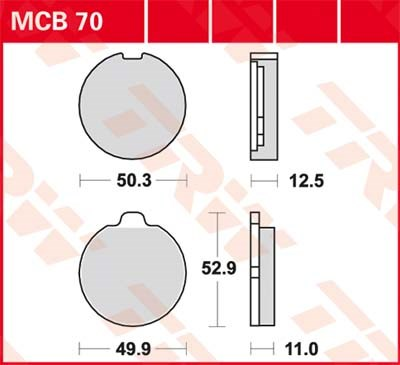 TRW Standaard remblokken MCB70