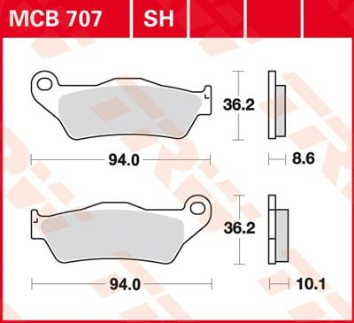 TRW SV/SH Remblokken MCB707SH