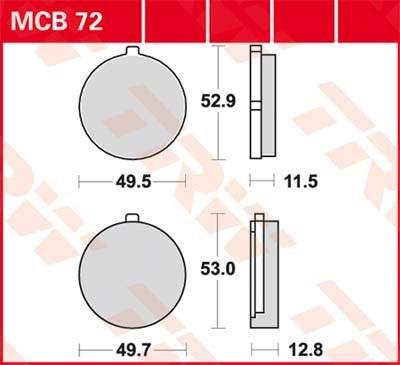 TRW Standaard remblokken MCB72