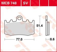 TRW Plaquettes de frein organique MCB748