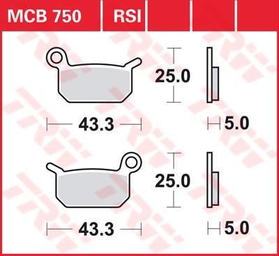 TRW SI Remblokken sinter metaal MCB750SI