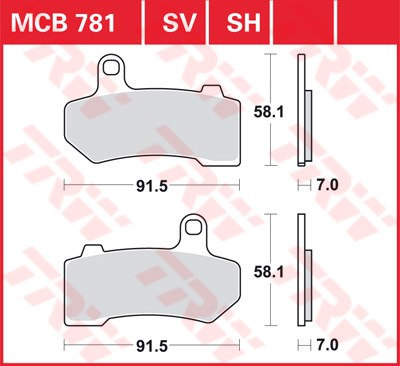 TRW SV/SH Remblokken MCB781SV