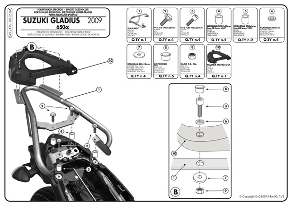GIVI Support topcase Monolock - SR M SR121M