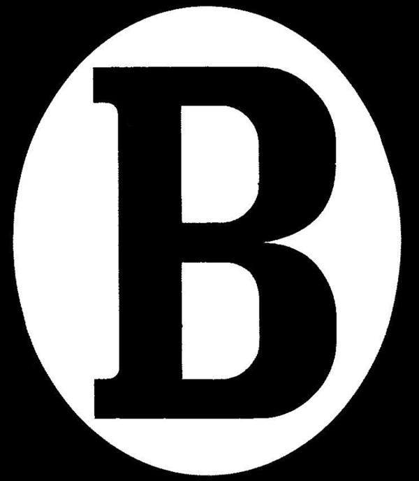 "RAD ""B""-sticker ovaal verticaal"