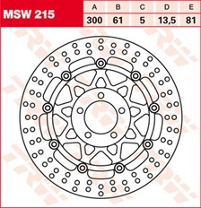 TRW MSW Zwevende remschijf MSW215