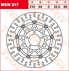 TRW MSW Zwevende remschijf MSW217