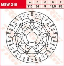 TRW MSW Zwevende remschijf MSW219