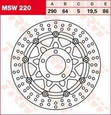 TRW MSW Zwevende remschijf MSW220