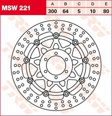 TRW MSW Zwevende remschijf MSW221