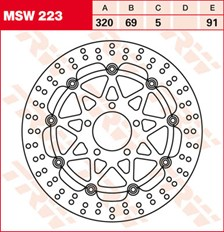 TRW MSW Zwevende remschijf MSW223