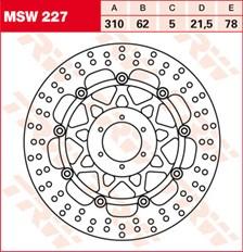 TRW MSW Zwevende remschijf MSW227