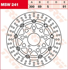 TRW MSW Disque de frein flottant MSW241