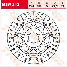 TRW MSW Zwevende remschijf MSW243
