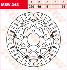 TRW MSW Zwevende remschijf MSW248