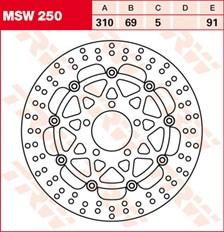 TRW MSW Zwevende remschijf MSW250