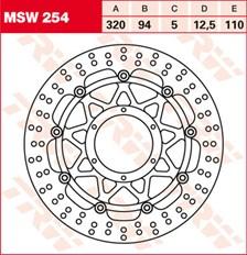 TRW MSW Zwevende remschijf MSW254