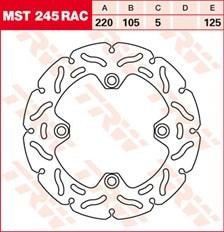 TRW Remschijf MST245RAC