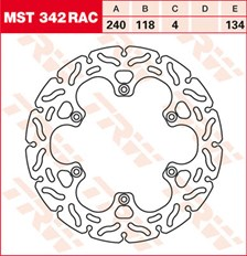 TRW MST disque fixe avec RAC design MST342RAC