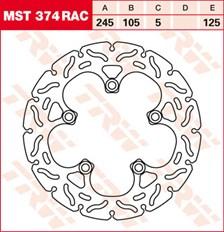 TRW MST disque fixe avec RAC design MST374RAC