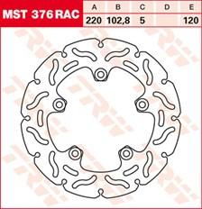 TRW MST vaste remschijf RAC design MST376RAC