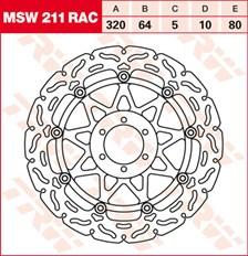 TRW MSW zwevende remschijf RAC design MSW211RAC