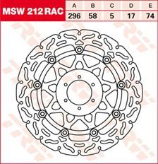 TRW Remschijf MSW212RAC