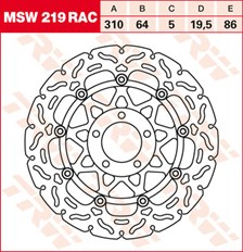 TRW MSW disque de frein flottant RAC design MSW219RAC