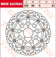 TRW MSW disque de frein flottant RAC design MSW223RAC