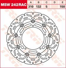 TRW MSW zwevende remschijf RAC design MSW242RAC