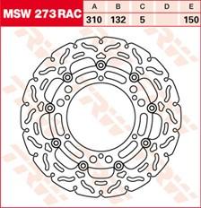 TRW MSW disque de frein flottant RAC design MSW273RAC