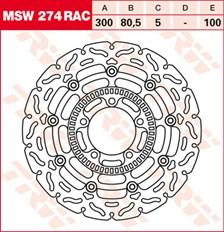 TRW MSW disque de frein flottant RAC design MSW274RAC