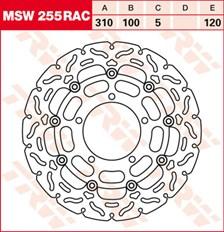 TRW MSW disque de frein flottant RAC design MSW255RAC