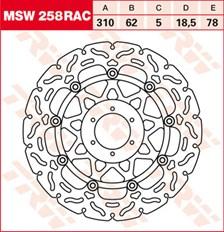TRW MSW zwevende remschijf RAC design MSW258RAC