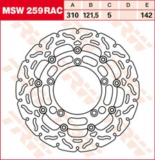TRW MSW zwevende remschijf RAC design MSW259RAC