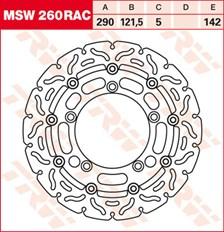 TRW MSW disque de frein flottant RAC design MSW260RAC
