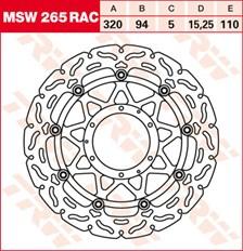 TRW MSW zwevende remschijf RAC design MSW265RAC