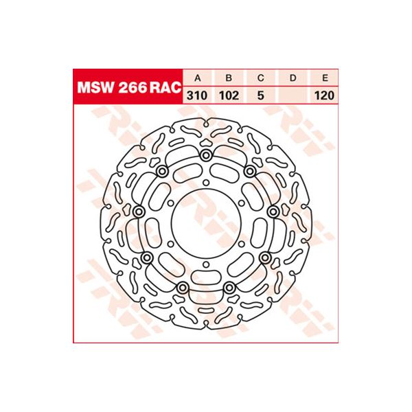 TRW MSW zwevende remschijf RAC design MSW266RAC