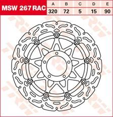 TRW MSW disque de frein flottant RAC design MSW267RAC